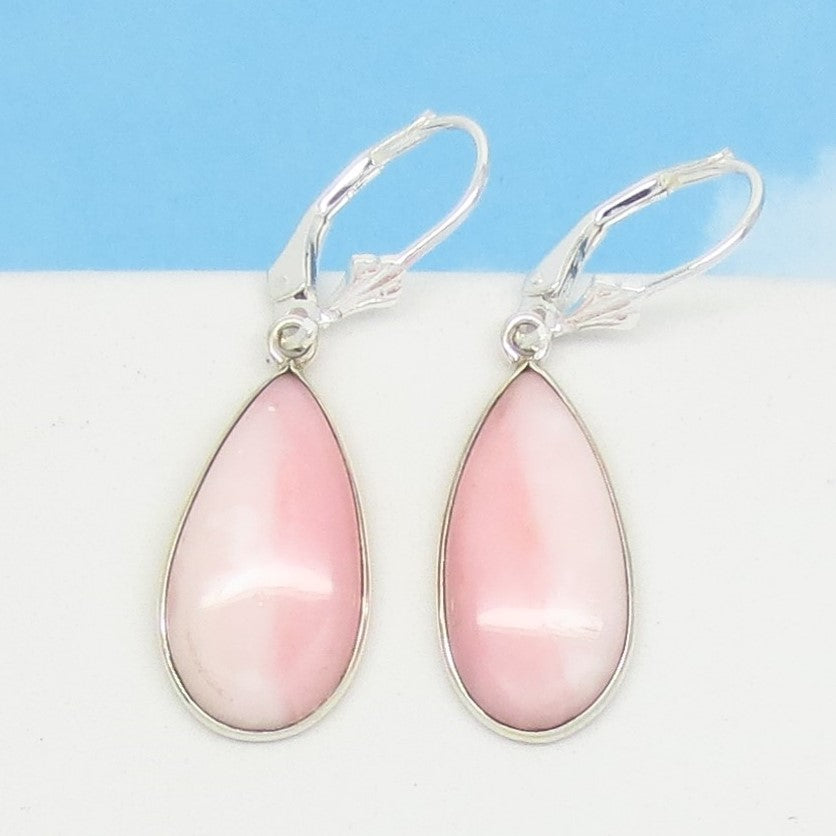 Natural Pink Opal Earrings Leverback Dangle 925 Sterling Silver Pear Shape Teardrop Minimalist - Genuine - Pale Pastel Peach Striped 281253