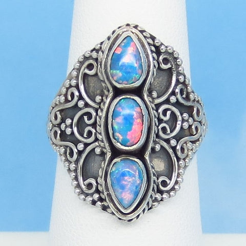 Size 6-3/4 Blue Lab Opal Ring 925 Sterling Silver Statement Marquise Boho Bali Filigree Design Gothic Fire Opal