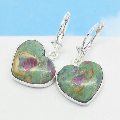 Ruby in Fuchsite Heart Earrings - 925 Sterling Silver - Leverback Dangle - Genuine Natural - Pink Raw Ruby - Pastel - 281501