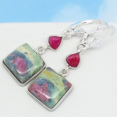 Ruby in Fuchsite Earrings 925 Sterling Silver Leverback Dangle Genuine Natural Square Boho Pink Raw Ruby - Abstract Pink & Green 281505