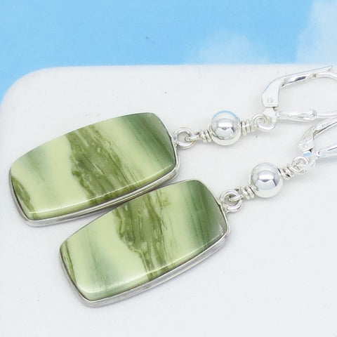 "Natural Serpentine Stone Earrings 925 Sterling Silver Leverback Dangle Rectangle Cushion Cut Boho Beaded Lime Sage Green ""Jade"" Green Striped Earrings 291651"