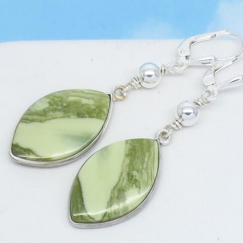 "Natural Serpentine Stone Earrings 925 Sterling Silver Leverback Dangle Marquise Boho Beaded Lime Sage ""Jade"" Green Striped Earrings 291653"