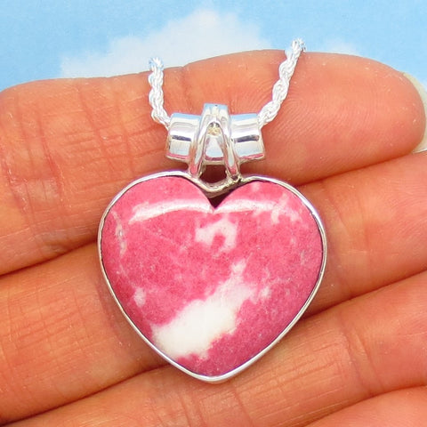 Natural Pink Thulite Heart Pendant Necklace - 925 Sterling Silver - Norway - Rare Pink Zoisite - 291506