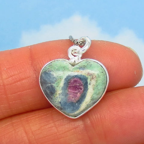 Small Ruby in Fuchsite Heart Pendant Necklace - 925 Sterling Silver - Genuine Natural - Pink Raw Ruby - Minimalist Dainty Boho - 290658