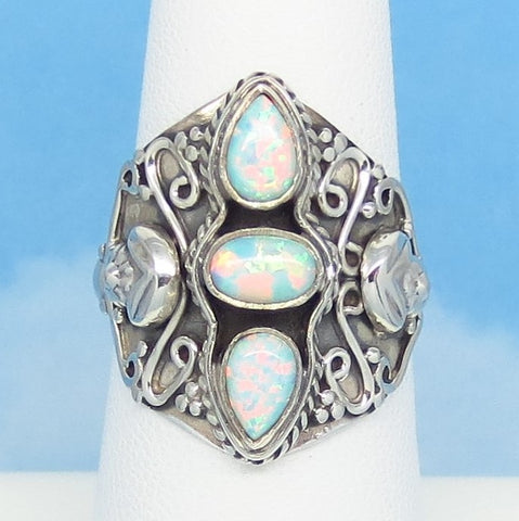 Size 6-3/4 White Lab Opal Ring 925 Sterling Silver Statement Marquise Boho Bali Filigree Design Gothic Fire Opal