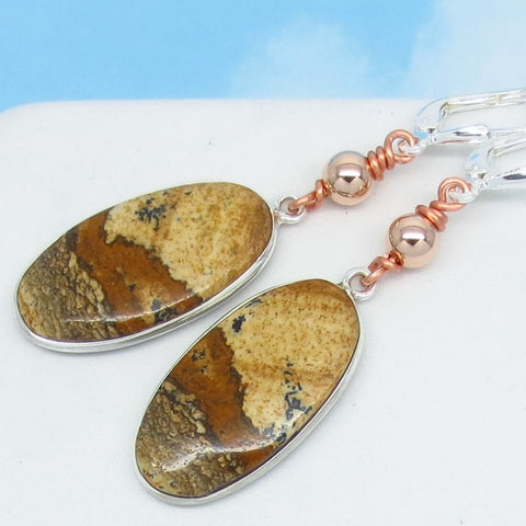 2 Tone Picture Jasper Earrings 925 Sterling Silver 14K Rose Gold Copper Oval Boho Beaded Leverback Dangle Scenic Brown Natural 291808