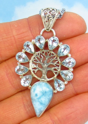 Larimar & Blue Topaz Tree of Life Pendant Necklace - Sterling Silver - Genuine - Natural - Woodland - Celtic - p172253