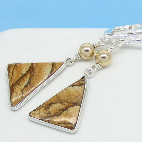 2 Tone Picture Jasper Earrings 925 Sterling Silver 14K Gold GF Triangle Abstract Geometric Boho Beaded Leverback Dangle Brown Natural 291457