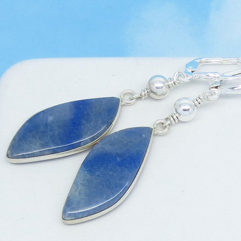 Very Rare Dumortierite Earrings Natural Blue Quartz 925 Sterling Silver Leverback Dangle Marquise Leaf Shape Abstract Denim Blue Boho 291561