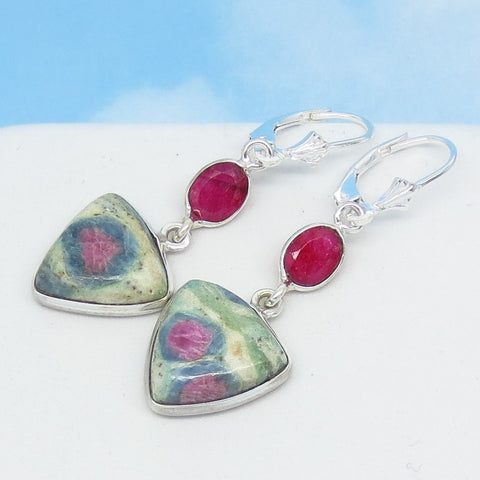 Ruby in Fuchsite Earrings 925 Sterling Silver Leverback Dangle Genuine Natural Triangle Boho Pink Raw Ruby Flower Rose Pink & Green 291370