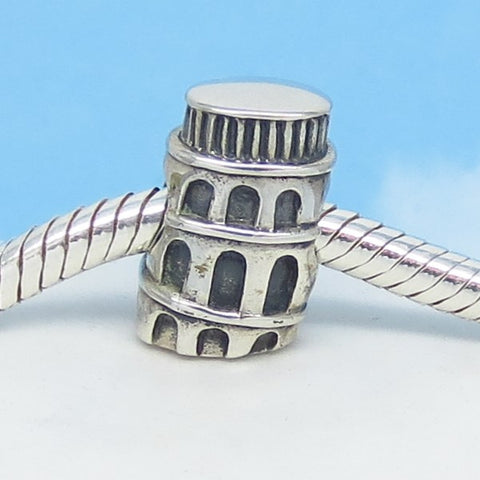 Italy Pisa Tower 925 Sterling Silver European Threaded Charm Bead - Fits Pandora Bracelets - Euro Charm - Hypoallergenic - Leaning c170758
