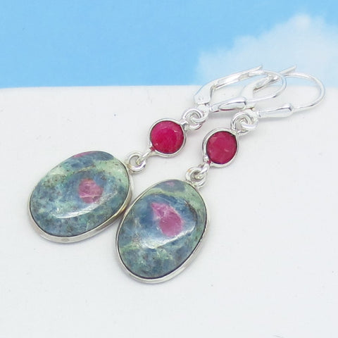 Ruby in Fuchsite Earrings 925 Sterling Silver Leverback Dangle Genuine Natural Oval Boho Pink Raw Ruby Flower Rose Pink & Green 291371