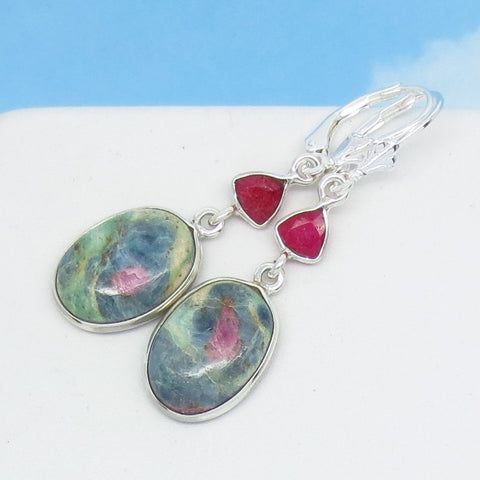 Ruby in Fuchsite Earrings 925 Sterling Silver Leverback Dangle Genuine Natural Oval Boho Pink Raw Ruby Flower Rose Pink & Green 291372