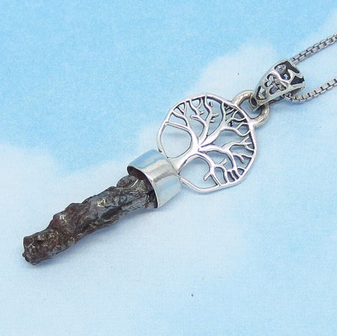 Meteorite Campo del Cielo Tree of Life Pendant Necklace - 925 Sterling Silver - Celtic Woodland - Genuine Natural - t291101