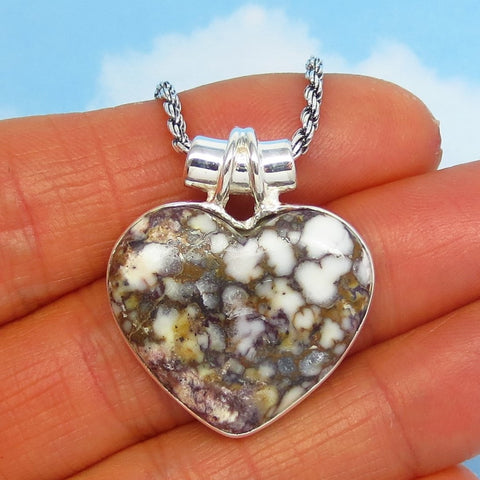 Wild Horse White Turquoise Heart Pendant Necklace - Sterling Silver - Appaloosa Stone - p162208