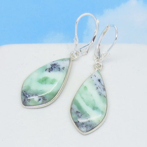 African Green Chrysoprase Earrings 925 Sterling Silver Leverback Dangle Leaf Shape Marquise Mint Green Chalcedony Natural Genuine 262092