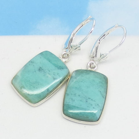 African Green Chrysoprase Earrings 925 Sterling Silver Leverback Dangle Square Rectangle Aqua Green Chalcedony Natural Genuine 262093