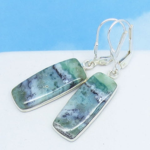 African Green Chrysoprase Earrings 925 Sterling Silver Leverback Dangle Rectangle Sage Mint Green Chalcedony Natural Genuine 262099