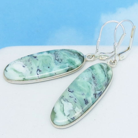 African Green Chrysoprase Earrings 925 Sterling Silver Leverback Dangle Long Oval Sage Mint Green Chalcedony Natural Genuine 262101