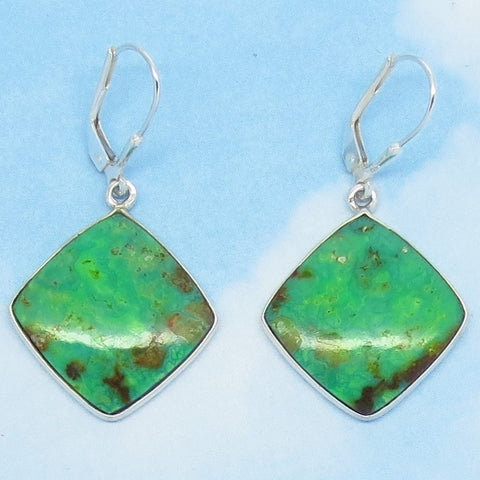 Natural Green Mojave Turquoise Earrings 925 Sterling Silver Leverback Dangle Diamond Shape Geometric Genuine Arizona Apple Lime Green 272336