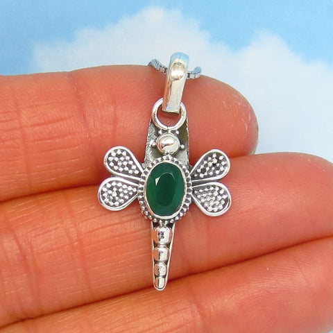 Small 0.85ct Natural Emerald Dragonfly Pendant Necklace - Sterling Silver - Bee Butterfly Firefly Gardener Gift Woodland - Genuine j161263