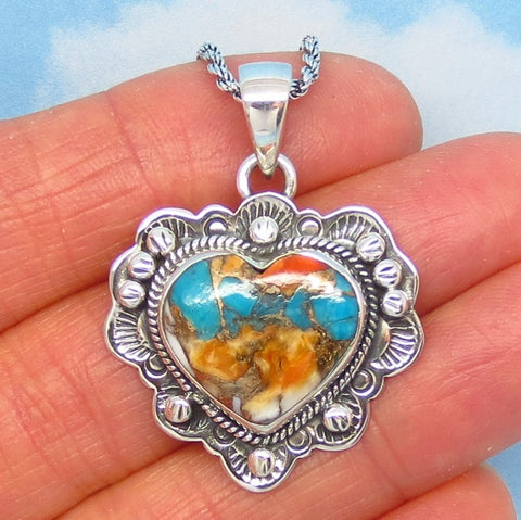 Natural Spiny Oyster Turquoise Heart Pendant Necklace - 925 Sterling Silver - Genuine Mojave Copper Turquoise - Ruffled Western 272503