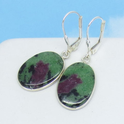 Natural Ruby Zoisite Earrings - 925 Sterling Silver - Leverback Dangle - Oval - Genuine Raw Ruby - Boho - 271418