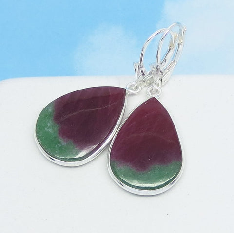 Natural Ruby Zoisite Earrings - 925 Sterling Silver - Leverback Dangle - Pear Shape Teardrop - Genuine Raw Ruby - Boho - 271508