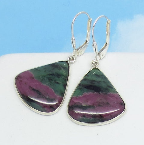 Natural Ruby Zoisite Earrings - 925 Sterling Silver - Leverback Dangle - Fan Shape Triangle Geometric - Genuine Raw Ruby - Boho - 271809