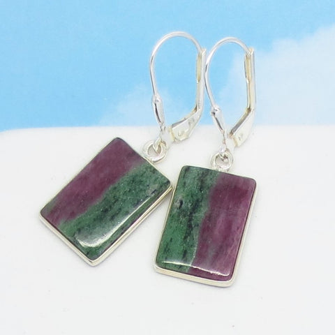 Natural Ruby Zoisite Earrings - 925 Sterling Silver - Leverback Dangle - Rectangle Striped Geometric - Genuine Raw Ruby - Boho - 271639