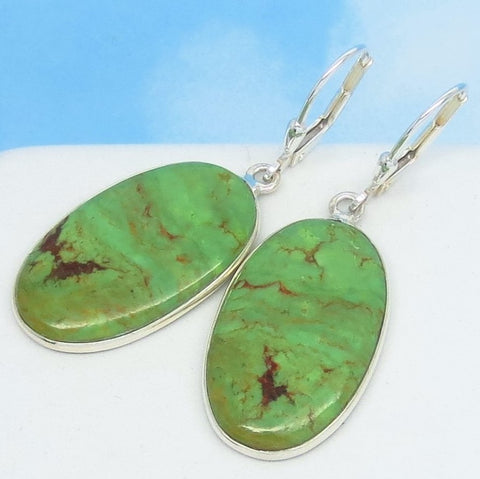 Natural Green Mojave Turquoise Earrings 925 Sterling Silver Leverback Dangle Oval Genuine USA Arizona Apple Lime Green 272133