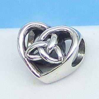 2-Sided Celtic Trinity Knot Heart Charm Bead 925 Sterling Silver Triquetra Fits Pandora Bracelets Euro European Charm Hypoallergenic 160798