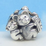Koala Bear European Charm Bead .925 Sterling Silver Fits Pandora Bracelets Euro Charm Hypoallergenic - Mother and Baby Mom Cute Charm 160746