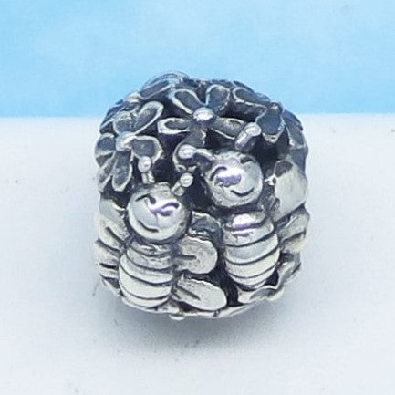 Honey Bee & Flower European Charm Bead .925 Sterling Silver - Fits Pandora Bracelets Euro Charm - Gardener Charm - Spacer Bead - Bees 160530