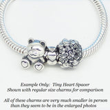 Teeny Tiny Heart Spacer Bead 925 Sterling Silver European Charm Bead Spacer - Fits Pandora Bracelets - Euro Charm - Hypoallergenic - 160421