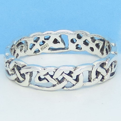 Size 15 - Men's Open Weave Celtic Knot Band Ring - 925 Sterling Silver - 6mm Wide - 311234-15
