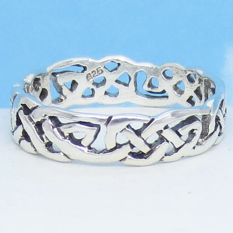 Size 13 - Men's Open Weave Celtic Knot Band Ring - 925 Sterling Silver - 6mm Wide - 311234-13