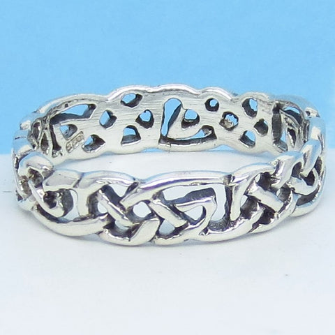Size 14 - Men's Open Weave Celtic Knot Band Ring - 925 Sterling Silver - 6mm Wide - 311234-14