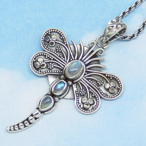 Rainbow Moonstone Dragonfly Pendant Necklace - Sterling Silver - Genuine Natural - Sri Lanka - Firefly Butterfly - Boho - Woodland - p162803
