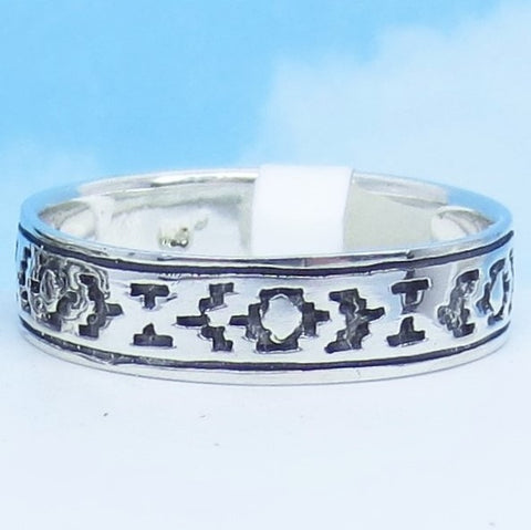 Size 11-3/4 - 6mm Southwest Band Ring - Western - Zia - Sun Symbol - 925 Sterling Silver -av201072-1175
