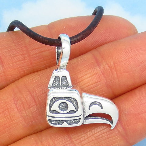 Sterling Silver Inuit Eagle Mask Pendant Necklace Leather Pacific Northwest Native Alaska Tribal Totem Woodland Bird Men's Necklace nk171314