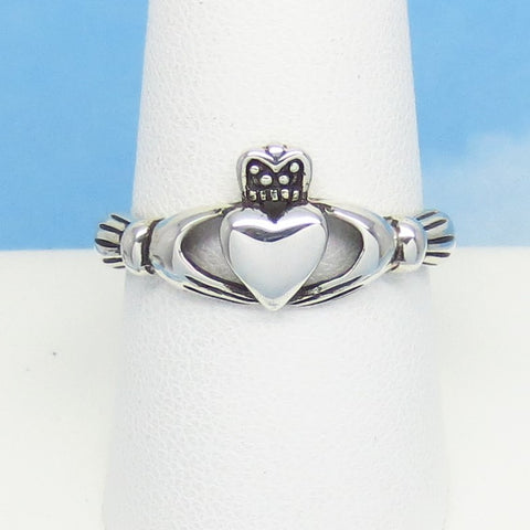 Size 10 - 925 Sterling Silver Claddagh Ring - Irish Celtic Heart Crown Hands Ring - avc210856 - Claddagh Ring #2