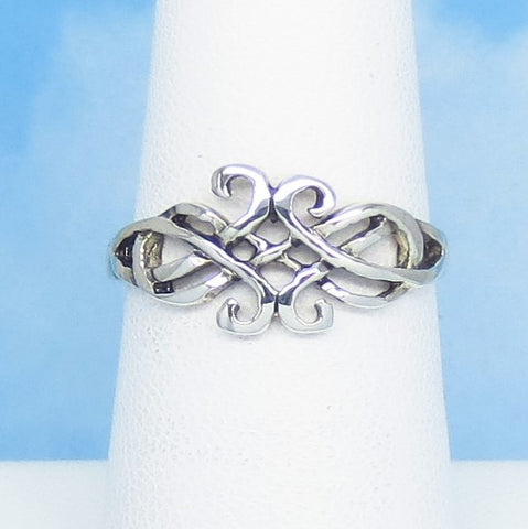 Size 6-1/4 Ladies' Lightweight Celtic Knot Ring - 925 Sterling Silver - Handmade - Oxidized - 200586-0625