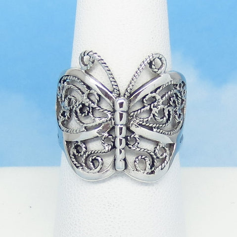 Size 7 Handmade Bali Butterfly Ring 925 Sterling Silver Filigree Butterfly Ring Statement Ring Butterfly Jewelry Large 20mm 220917-7