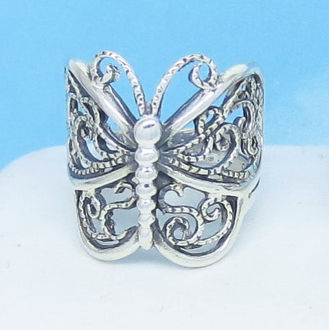 Size 5 Handmade Bali Butterfly Ring 925 Sterling Silver Filigree Butterfly Ring Statement Ring Butterfly Jewelry Large 20mm 220917-5