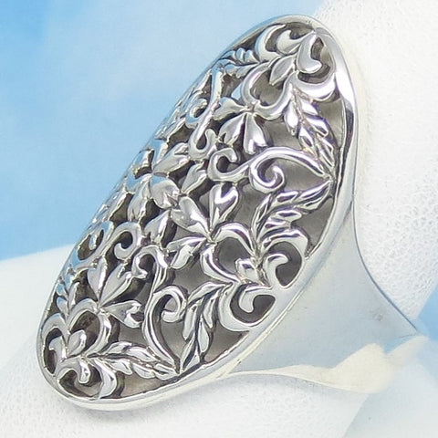 "Size 10 - 1-1/8"" Tall Filigree Ring - 925 Sterling Silver - Oval - Floral - Boho Victorian Gothic - jv271889-10"