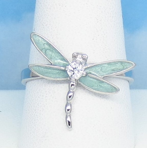 Size 10 Aqua Enamel Dragonfly Ring - 925 Sterling Silver - Clear CZ - Gardener Woodland Jewelry Gift