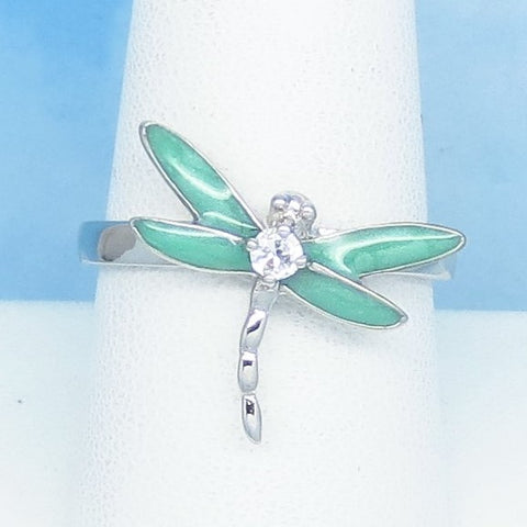 Size 9 Enamel Dragonfly Ring - 925 Sterling Silver - Clear CZ - Pale Green - Mint Green - Gardener Woodland Jewelry Gift