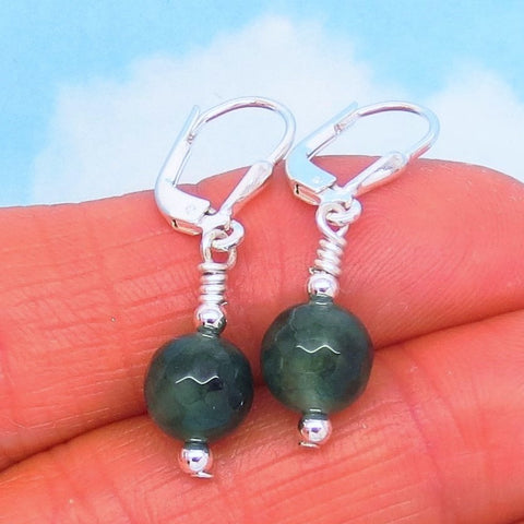 Small 2.56ctw Natural Emerald Earrings Sterling Silver Leverback Dangles - 8mm Round Bead - Raw Untreated Genuine Emerald - Dainty - Pair A