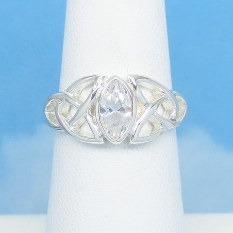 Size 6 Celtic Triquetra Ring - 0.90ct Clear CZ Cubic Zirconia - Marquise - Trinity Knot Ring - 925 Sterling Silver -170712-6